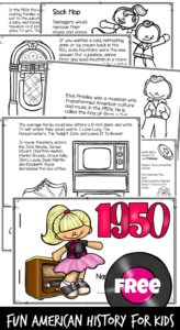 Help kids learn what life in the 50s was like with this free printable that explores the1950s for Kids. From Elvis Presley, jukeboxes, soda shops, sock hop, Rosa Parks, poodle skirts, and famous inventions like Mr. Potato Head, frisbees, white out, micro chips, Barbie, and more - make history for kids fun as they color, read, and learn about American History. Use this resource with pre k, kindergarten, first grade, 2nd grade, 3rd grade, 4th grade, 5th grade, and 6th grade students.