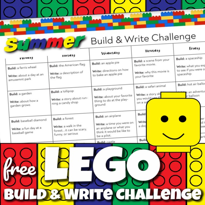 Grab the FREE PRINTABLE to help elementary age kids have fun sneaking in practice writing with Lego Challenge summer writing prompts.