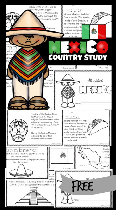 FREE Mexico Printables - Kids will be fascinated as they learn about the country of Mexico with these free printable Mexico for Kids books. Included are pictures to color and information about the culture, way of life and interests. These are a fanatic resource for kindergarteners, grade 1, grade 2, grade 3, and grade 4 students.