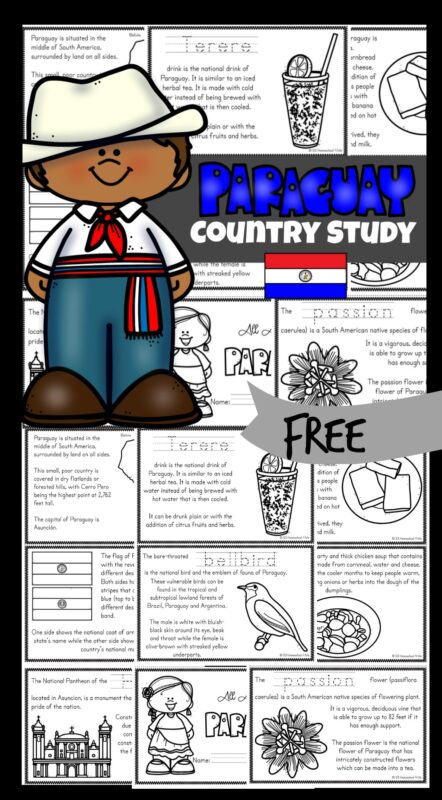 Kids will love learning about Paraguayfor Kids? These ParaguayPrintables allows kids to color, read and learn fascinating facts about the South American country where they speak Guaraní and Spanish. Although they are landlocked, it has a large navy. Thanks to the Guairá Falls, it is known as the land of water. . This Paraguaycountry study is such a fun way to explore another country from around the world. Use the Paraguaycoloring pages filled with intersting facts about Paraguay for kids fromkindergarten, first grade, 2nd grade, 3rd grade, 4th grade, 5th grade, and 6th grade students.
