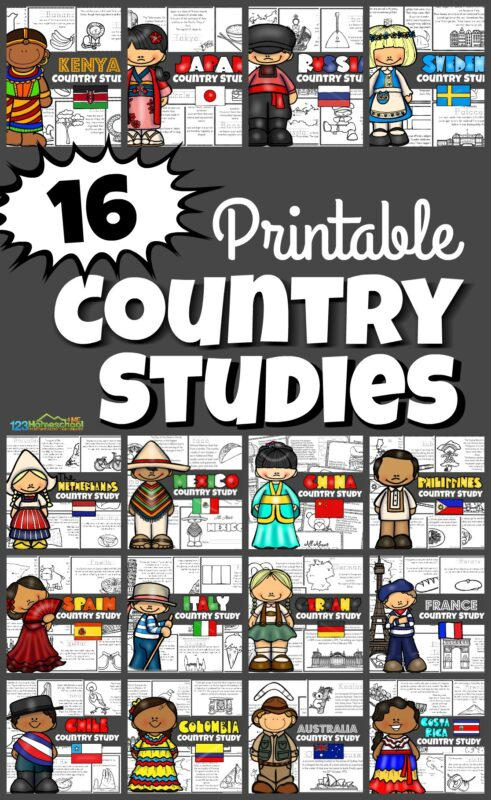 16 Printable Country Studies for Kids - children will have fun learning about countries around the world with this fun resource perfect for pre k, kindergarten, grade 1, grade 2, grade 3, grade 4, grade 5, and grade 6 including Kenya, Japan, Russia, Sweden, Netherlands, Mexico, China, Philippines, Spain, Italy, Germany, France, Chile, Colombia, Australia, and Costa Rica.