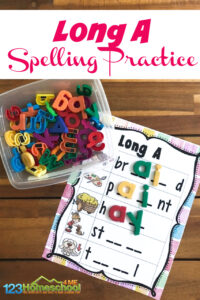 When your first grader student is ready to move on to long vowel sounds, you will love this handyvowel activity. Thislong a sound words worksheet uses letter tiles for a hands-onlong vowel activity for grade 1. Simply printlong a sound words pdf file and you are ready to play and learn!