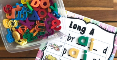 When your first grader student is ready to move on to long vowel sounds, you will love this handy Spelling Long A Words printable practice activity!