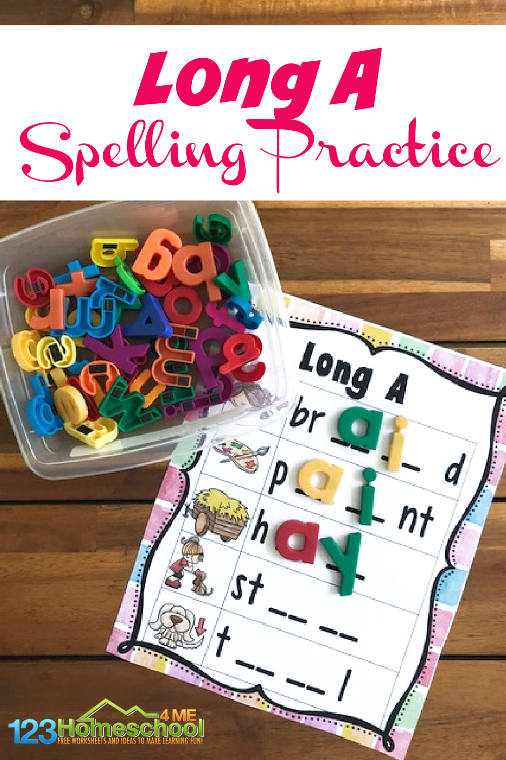 When your first grader student is ready to move on to long vowel sounds, you will love this handySpelling Long A Words printable practice activity!