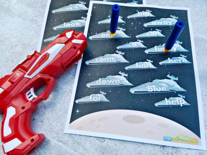 use a dart gun to play this interactive Star Wars Sight Words Game