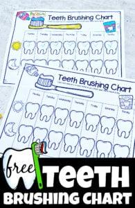 Free printable teeth brushing chart for kids downloadable pdf