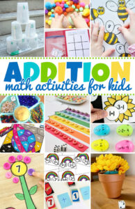 Not everyone finds math easy, but these addition activities will make learning and practicing adding FUN. Use these hands on math games, addition worksheets, and many addition activities to practice this important math skill with preschool, pre k, kindergarten, first grade, 2nd grade, and 3rd grade students.