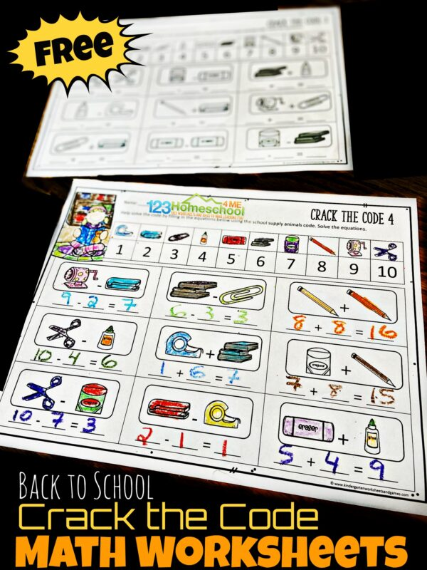 Celebrate Back to School with a fun math activity! These Crack the Code Worksheets make practicing addition and subtraction fun for kindergarten and first grade students.