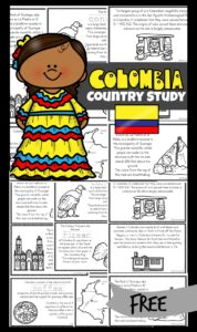 FREE Colombia for Kids Reader - learn about Colombia - a beautiful South American country known for beautiful mountains, tropical rainforests beaches, coffee and so much more! Simply download and print one of these free printable mini books filled with information, cute clipart, and facts to make learning aboutColumbia for Kids fun. Great resources for teaching about geography or countries around the world to kindergarten, first grade, 2nd grade, 3rd grade, 4th grade, 5th grade, and 6th grade students.