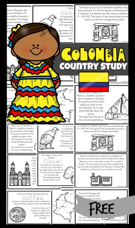 Learn about Colombia for kids with this free printable reader to read, color and learn! In thesecolombia coloring pages, children will learn about the beautiful South American country known for beautiful mountains, tropical rainforests beaches, coffee and so much more! Simply download pdf file with colombia worksheets and print the free printable mini books filled with information, cute clipart, and facts to teaching kindergarten, first grade, 2nd grade, 3rd grade, 4th grade, 5th grade, and 6th graders about geography and countries around the world.