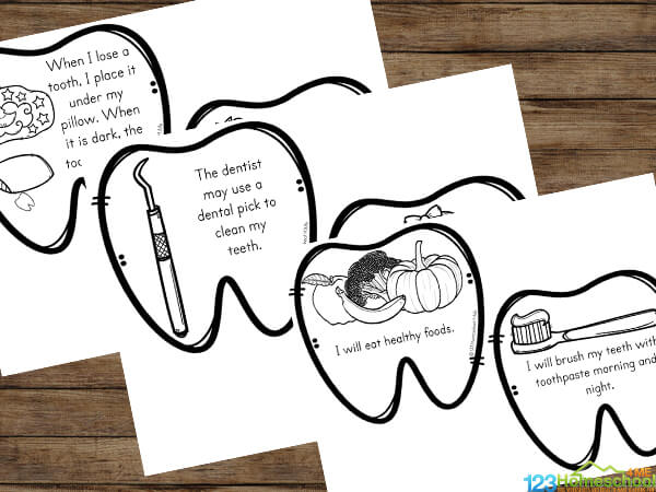 download the pdf file for the free dental printables for kids