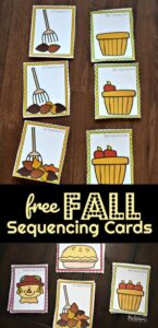 super cute, free printable, fall sequencing activity for toddler, preschool, pre k, kindergarten, and grade 1