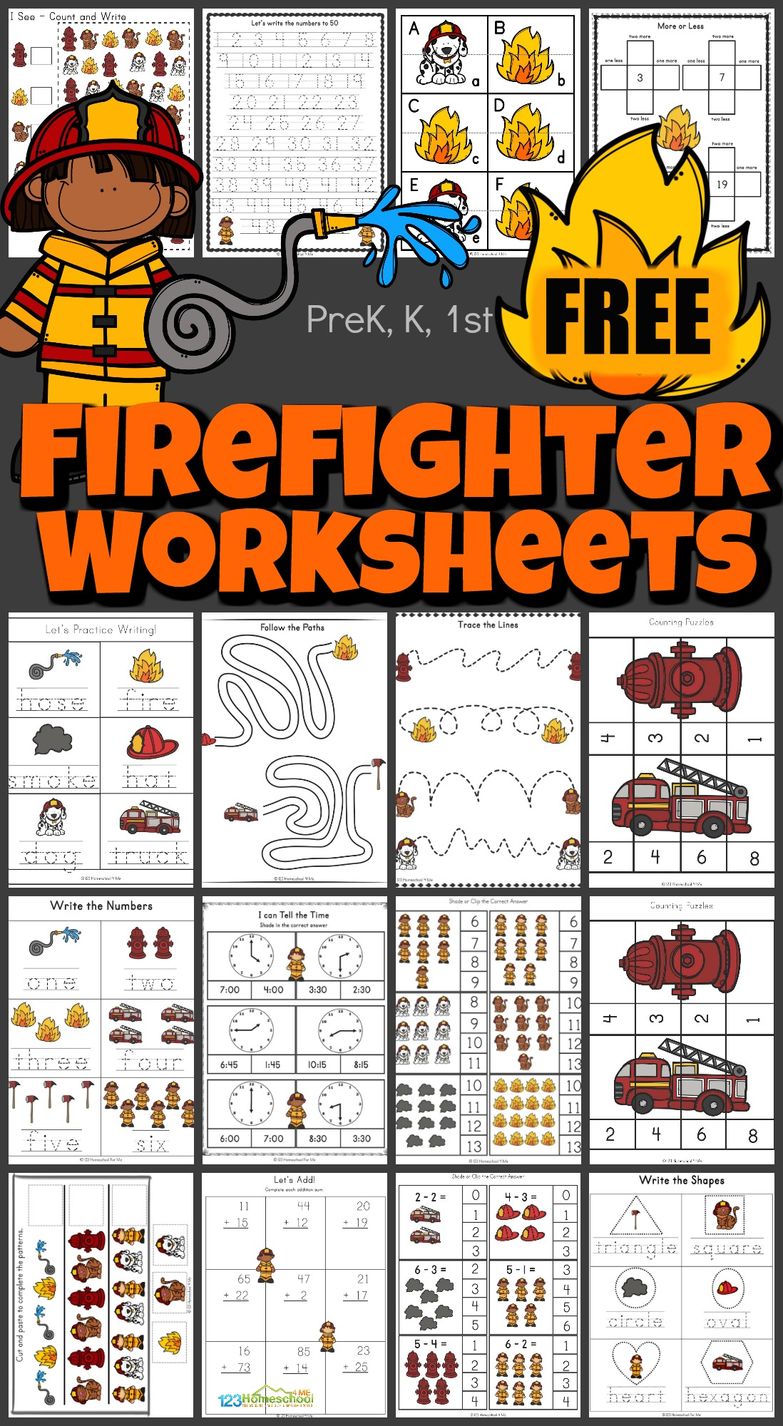 Learning about fire safety is important. This massive, 50+ page printable pack, includes free firefighter worksheets to help toddlers, preschoolers, kindergarteners, and grade 1 children work on their math and literacy skills while learning about the different tools that firefighters use.
