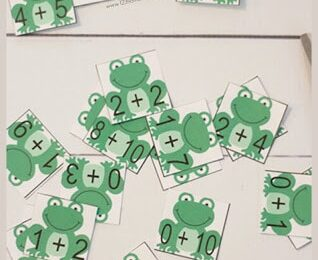 Frog Math addition game for pre k, kindergarten, first grade students to make learning math fun