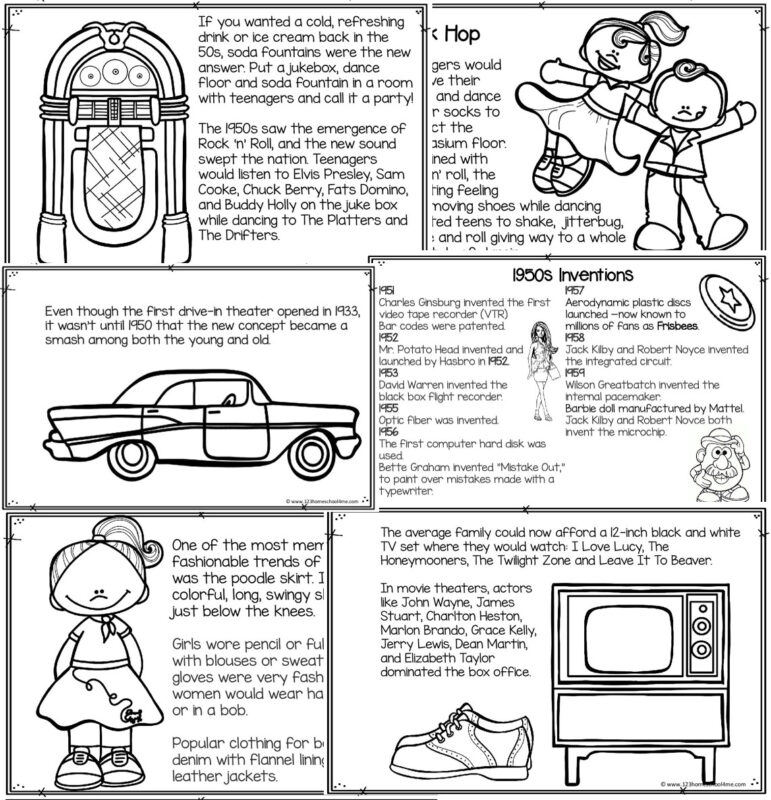 learn about 1950s including jukebox, sock hob, drive in, 50s inventions, trends like the sock hop, and more with this free printable book to color and read for kids