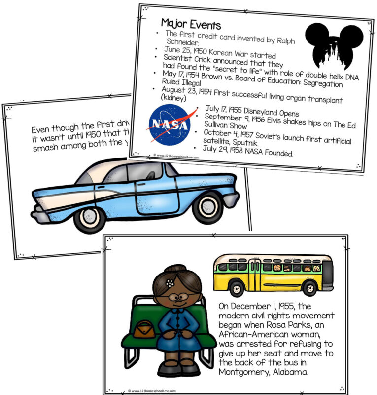 kids will have fun learning american history as they go back to yester year to learn about life in the 1950s