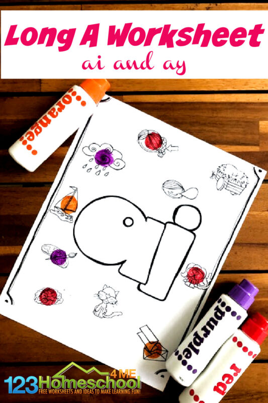 Help kids practice discriminating between how the long a sound is spelled in words using these super cute Long A Worksheets. Print the long a worksheets pdf vowel coloring pages to work on spelling and phonics. Thislong a sound words worksheet is perfect for kindergarten, first grade, and 2nd graders too. Simply print FREE printable long a worksheet pdf file and you are ready to dab and learn!