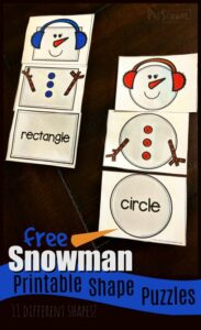 Snowman printables shape puzzles