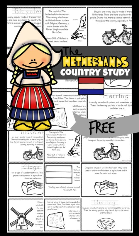 The Netherlands Printables - Kids will love learning about The Netherlands with these free printable Netherlands for Kids Mini Books. These books help teach about the Netherlands; their way of life, the culture, landmarks and interests. They will also learn about some unique Netherlands landmarks. This is a great tool for using with kindergarten, grade 1, grade 2, grade 3, grade 4, grade 5, and grade 6 to teach geography, about countries around the world, or as part of a social studies unit.