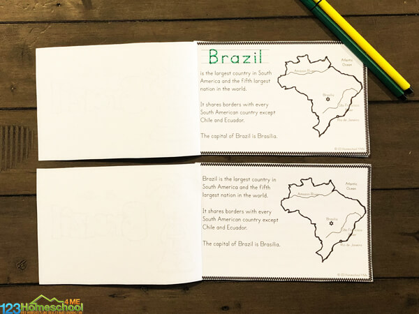 Brazil printable to teach kids about a new country around the world