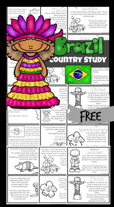 Let's learn about the largest country in South America - Brazil! As children learn about Brazil for Kids, they will discover a vibrant country filled with Portuguese speaking, soccer loving people. Brazil includes the world's largest jungle - the Amazon, massive Christ the Redeemer statue, 60% of the rainforest, and Brazilian Carnival celebration in February. This Brazil printable book will explore the life, the culture, landmarks and interests for kindergarten, first grade, 2nd grade, 3rd grade, 4th grade, 5th grade, and 6th grade students.