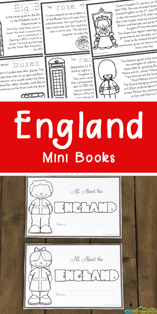 Do you fancy a cup of tea and some fish and chips as we learn about England for Kids? This England Printable book allows kids to color, read and learn fascinating facts about the United Kingdom famous for the Royal Family, Windsor Castle, notorious guards, Big Ben, double decker red buses, driving on the 'wrong' side of the road, and the charming British accent. This is such a fun way to explore another country from around the world with kindergarten, first grade, 2nd grade, 3rd grade, 4th grade, 5th grade, and 6th grade students.