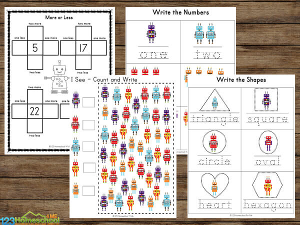 Free Robot Worksheets for Kids
