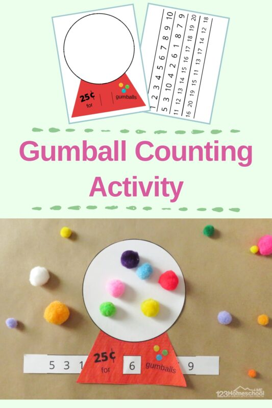 Super cute, free printable gumball math activity for toddlers, preschoolers, and kindergartners to practice counting to 20