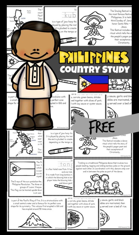FREE Philippines for Kids Reader - Join me as we take a virtual trip to the Philippines - a country in Asia that is made up of more than 7,000 islands! Download the free printable book Philippines for kids that students will color, read, and learn fascinating facts like the varied animals, hundreds of orchid varieties, beautiful beaches, and delicious fruit! This is a great way to learn about other countries and geography with pre k, kindergarten, first grade, 2nd grade, 3rd grade, 4th grade, 5th grade, and 6th grade children.