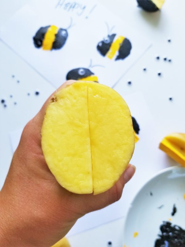 cut your potato in half to make this potato craft for kids