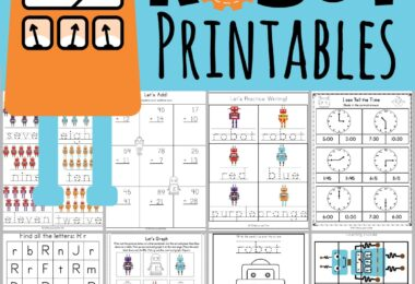 Do you have a robot fan in your house? Your toddler, preschool, pre k, kindergarten, and first grade child will love these super cute, free printable, robot printables. We've included lots of fun alphabet, math, and literacy skills in these 50+ robot worksheets. Completing these robot activities is sure to make learning fun for kids!