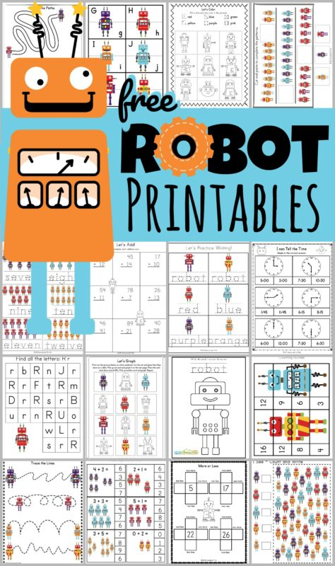 FREE Robot Printables Pack For Ages 3-8