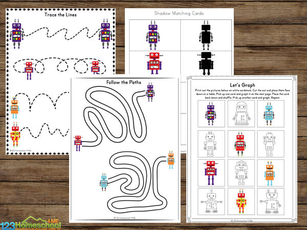 Robot Worksheets for toddler, preschool, pre k, kindergarten, first grade students