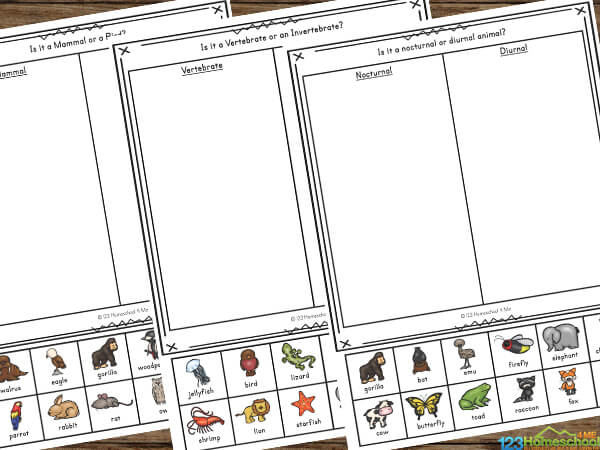 Fun and Free Science Worksheets for Kids working on learning animal classifications