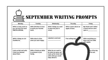 Take the work out of having kids practice writing with these no prep, free printable, September Writing Prompts. Kindergarten, first grade, 2nd grade, 3rd grade, and 4th grade students will love the convenience of our writing prompt calendar filled with creative writing ideas for every day of the week.  This is such a easy way to help kids practice forming sentences, spelling words correctly, and formulating their thoughts!