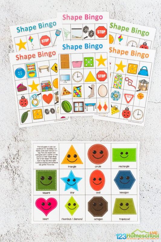 Shape bingo printable