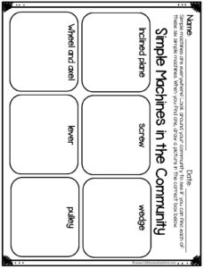 Simple Machines Activity with printable