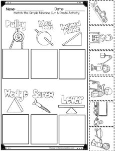 Simple machine worksheet for kids where they will cut and paste machines using the cute clipart images