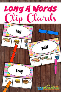Help children get the practice they need with spelling long a wordswith these super cute, free printable clip cards for kindergartners, grade 1, and grade 2 students.