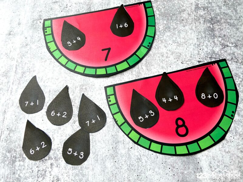 super cute activity to help preschool, pre k, kindergarten, and grade 1 students Watermelon Adding Within 10 activity