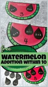We love to sneak in some fun summer learning activities to keep kids brains working so they don't forget math skills during the break. This super cute, free printable watermelon math focuses on helping preschool, pre k, kindergarten, and first grade students practice addition within 10 with a fun, hands on activity!