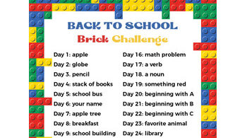 If your kids love Lego as much as mine do, this free printable Back to School Lego Challenge is just what you are looking for. Download the pdf file with the brick challenge for you to print off. There is a different challenge for kindergarten, first grade, 2nd grade, 3rd grade, 4th grade, and 5th graders to do every day. This is great for problem solving, STEM activity, and early reasoning and math skills.