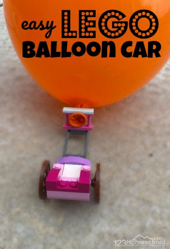 Are you ready to make something really cool with your kids? Your children will go nuts over this fun, easy to make Lego Balloon Car. This such a fun physical science experiment to try with preschool, pre k, kindergarten, first grade, 2nd grade, 3rd grade, 4th grade, 5th grade, and 6th grade students. Ready to build your balloon car?