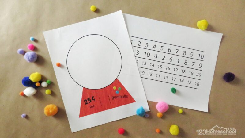 download the gumball printable to make the fun math activity for toddlers, preschoolers, and kindergarnters