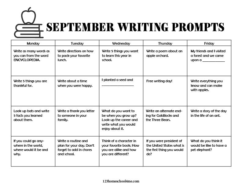 homeschool September Calendar with Writing Ideas