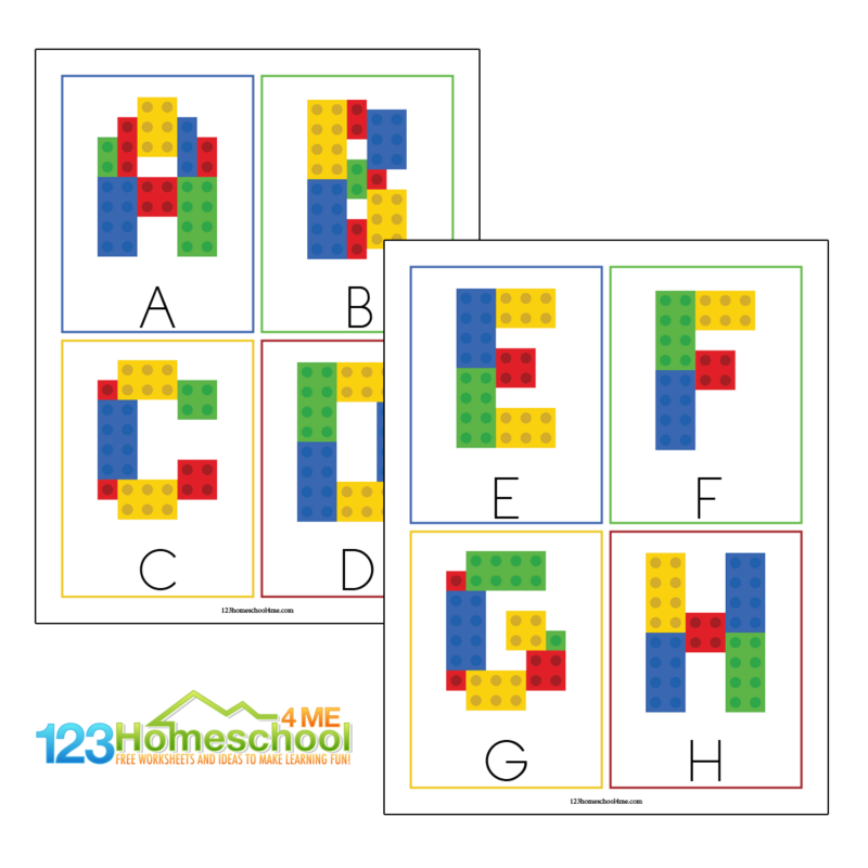 Super cute and free printable lego ABC cards to use as a template to make alphabet letters our of lego or duplo bricks