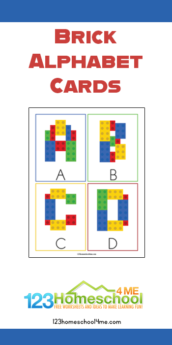 These super cute, free printable Lego Alphabet Cards are a fun way for toddler, preschool, pre k, and kindergarten age kids to practice making uppercase letters as they learn their ABCs.