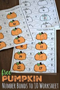 pumpkin printable number bonds to 10 worksheet