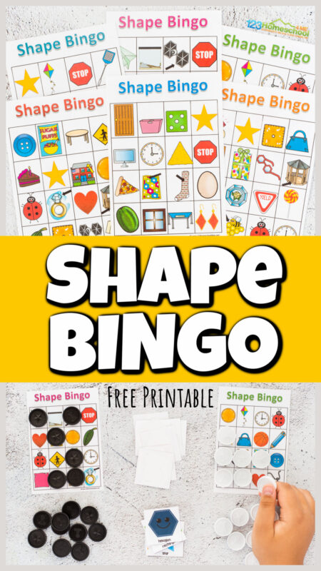 Make learning about shapes for kids fun with this super cute, Shape Bingo. This shape game will help kids go from knowing basic shapes to seeing them in the world around them. Use this shape activity for applying math with toddler, preschool, pre-k, kindergarten, and first grade students. Simply print free shapes printables and you are ready to play and learn with ashapes bingo!