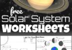 Kids will have fun learning about our solar system with these free printable Solar System Worksheets for kids.  You'll find solar system vocabulary, planets, sun, stars, moon phases, and so much more! These free worksheets are great for Kindergarteners, grade 1, grade 2, grade 3, grade 4, grade 5, and grade 6 students.